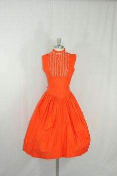 Vintage Dress - Jewel Tone - 1950's ORANGE COTTON with Rhinestones Sleeveless Tuxedo Style Full Skirt Party Frock