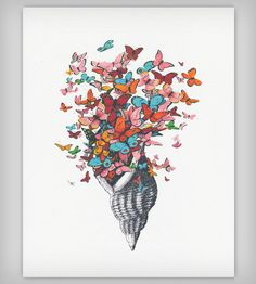 5. Seashell with Butterflies