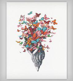 Seashell with Butterflies Art Print