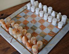 Vintage onyx chess set and board by nancyplage on Etsy, £35.00