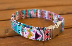 Vibrant Aztec Dog Collar, Aztec Dog Collar, Summer Dog Collar, Female Dog Collar, Dog Collar, Pet Accessories