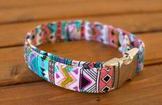 Vibrant Aztec Dog Collar, Aztec Dog Collar, Summer Dog Collar, Female Dog Collar, Dog Collar, Pet Accessories
