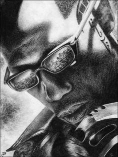 Blade Wesley Snipes Marvel Original Pencil by WickedIllusionART Comic Book Characters, Comic Book Heroes, Marvel Characters, Comic Character, Marvel Art, Marvel Comics, Marvel Avengers, Blade Movie, Blade Marvel