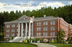Linen Postcard Edens Hall, Western Washington College of Education Bellingham, WA Western Washington University, Evergreen State, Education College, Dorm Room, Vikings, Westerns, Oregon, Aesthetics, Mansions