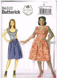 Butterick B6322, Sewing Pattern, Patterns by Gertie, Misses' Dress, Size 14, 16, 18, 20, 22