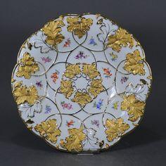 Meissen Prunkschale Prunkplatte Prunkteller Schale Platte gold bowl dish
