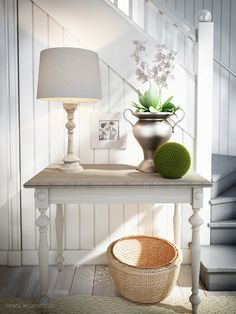 Lovely painted table with natural wood top Wall Organization, Milk Paint, White Houses, Scandinavian Style, Natural Wood, Entryway Tables, Sweet Home, Dressers, Hallways