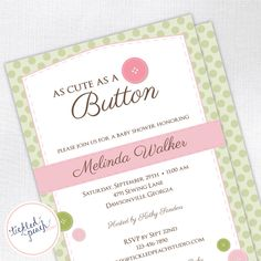 Cute As A Button Baby Shower Invitation  by tickledpeachstudio, $15.00