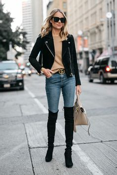 Black Suede Moto Jacket Camel Sweater Denim Skinny Jeans Stuart Weitzman Over-the-Knee boots Gucci Marmont Belt Fashion Jackson Dallas Blogger Fashion Blogger Street Style