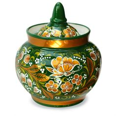 Sugar Bowl From the Malachite Set - Made of the famous Russian white clay and hand-painted in the classical Khokhloma style, this sugar bowl is just as beautiful, as it is unique!