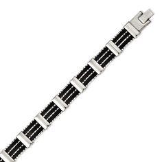 Chisel Black Rubber & Polished 8.25in Bracelet, Men's