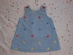 Girls Dress Chambray Blue with Embroidered by ScoontyMadeWithLove, $14.00
