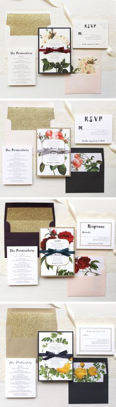 From Modern-Elegant to Vintage-Glam we've got you covered! Fully Assembled Wedding Invitations with Glitter Envelope Liners, Save the Dates, Wedding Menus, Ceremony Programs & Table Numbers By Beacon Lane