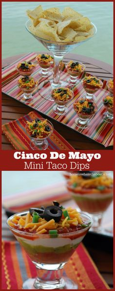 Cinco De Mayo Mini Taco Dips, mini layered taco dips that are quick & easy to assemble for an individual or fiesta serving! cool idea use sherbet glasses Mini Tacos, Appetizers For Party, Appetizer Recipes, Appetizer Dips, Healthy Appetizers, Dinner Recipes, Mexican Dishes, Mexican Food Recipes, Mexican Desserts