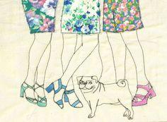 Impresión de una ilustración bordada por Sarah Walton