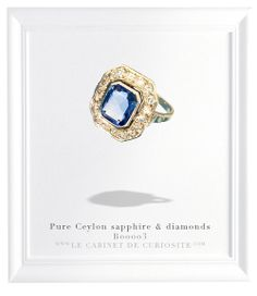 Extremly pure real Ceylon sapphire and diamonds Art Deco 18 carats white ring