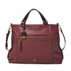 #Fossil VICKERY Tote in Maroon #colorcurious