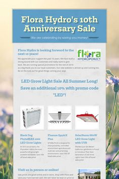 Flora Hydro's 10th Anniversary Sale