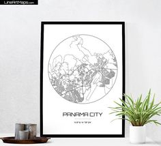 Panama City Map Print  City Map Art of Panama City by LineArtMaps