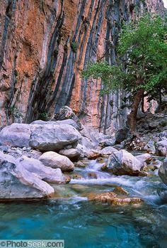 Samaria Gorge in Samaria National Park, on Crete, Greece #Samariawater #Greece #Crete