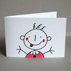 Geburtsanzeigen mit Strichmännchen-Baby gezeichnet von FranzBasdera #Babykarten #Grußkarten #BabyCards