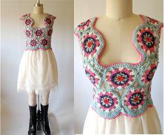 inspiration~Image detail for -Vintage crochet cropped top / handmade / crochet top / Crochet Bolero, Crochet Crop Top, Crochet Jacket, Crochet Blouse, Crochet Granny, Crochet Clothes, Diy Clothes, Crochet Woman, Crochet Fashion