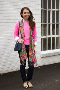 hot pink sweater + white button down + dark skinny jeans + Lilly Murfee scarf + gold flats