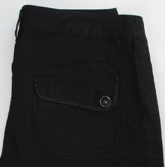 Women Diesel Black Pants Trouser Straight Leg Low Rise Flap Back Pockets 28 X 32…