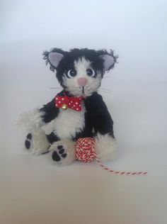 Cat Teddy Bear - Artist Black and White Mohair Cat Teddy Bear by LakeDistrictTeddies on Etsy