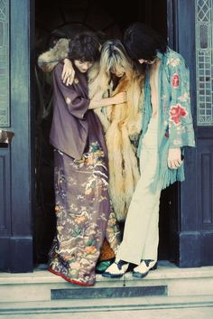 Anita Pallenberg  Circa 1968  Where: With Michele Breton and Mick Jagger on the set of Performance.