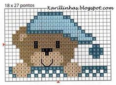 Bedtime for Teddy graph pattern Mini Cross Stitch, Cross Stitch Cards, Cross Stitch Animals, Cross Stitching, Cross Stitch Embroidery, Embroidery Patterns, Hand Embroidery, Knitting Charts, Baby Knitting Patterns