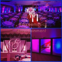 LED Ballroom Uplighting with Stage Monogram for Indian Wedding Reception at Emmanuel Center Houston, TX  BY: DJZEEMUSIC ENTERTAINMENT