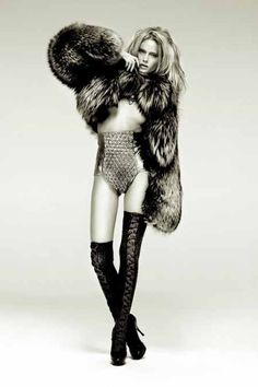 again fur with the more edgy metallic bottoms