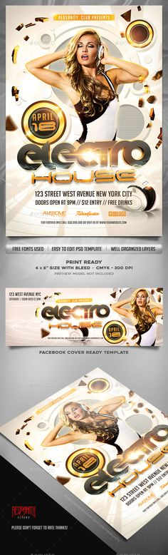 Electro House Flyer Template Plus FB Cover Template PSD. Download here: http://graphicriver.net/item/electro-house-flyer-template-plus-fb-cover/15488044?ref=ksioks