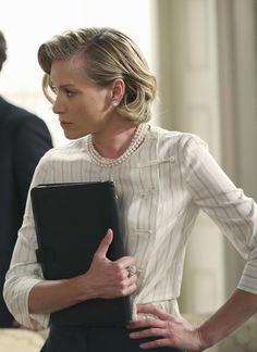 Elizabeth North's White Joie Venicia Silk Metallic-Stripe Blouse from Scandal - Season 5 Episode 3 | TheTake