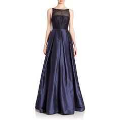 ML Monique Lhuillier Pleated Sequined Tulle Gown (3405 QAR) ❤ liked on Polyvore featuring dresses, gowns, apparel & accessories, midnight, sequin gown, blue dress, blue sleeveless dress, tulle ball gown and blue gown