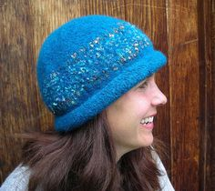 Handknit Felted Hat With Glitter
