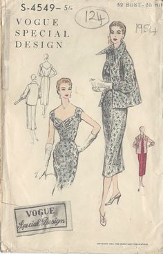 1954 Vintage VOGUE Sewing Pattern B32