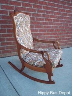 antique 19th century mahogany swan armed rocking chair no reserve
