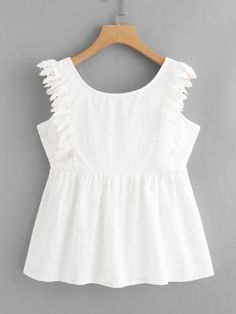 Shop Knot Back Lace Trim Blouse online. SheIn offers Knot Back Lace Trim Blouse & more to fit your fashionable needs. Event Dresses, Modest Dresses, Casual Dresses, Girls Dresses, Girls Fashion Clothes, Fashion Outfits, Girl Fashion, Crop Top Outfits, Skirt Outfits