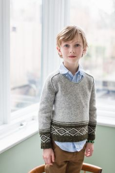 Carson Saddle-Shoulder Pullover with color work detailing from Brooklyn Tweed BT Kids