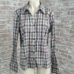 Plaid Crinkle Button Down Shirt XL Crinkle button down closure with red, black, gray and white colors. Silver metallic shimmery trimmed through out. Fred David Tops Button Down Shirts