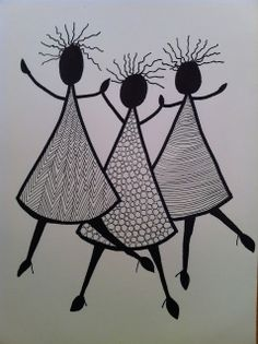 D´jo hanne: Gang i tusserne The dresses show different marks and thus give off a different feeling of texture. Doodle Art Drawing, Zentangle Drawings, Mandala Drawing, Zentangle Patterns, Mandala Art, Art Drawings, Zentangles, Afrique Art, African Art Paintings