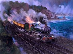 Fine Art Prints of Railway Scenes & Train Portraits - King John at Dawlish by John Austin