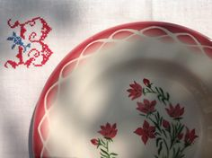 "Lovely old Digoin Sarregumines plate ""Aude"" design"