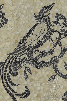 New Ravenna birds and branches mosaic in glass