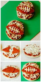 Mini Football Pizzas- SWEET HAUTE Perfect for Super Bowl or collage football, awesome party food idea! Pin now.....read later!!