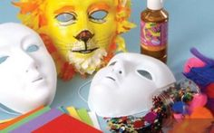 Kids carnival masks - step by step instructions. Kids Carnival, Carnival Masks, Carnival Ideas, Cute Crafts, Crafts To Do, Crafts For Kids, Mascara Papel Mache, Circus Crafts, Circus Theme