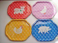 Set of Four Vintage Tin Trays with Farm Animals by Kissiana