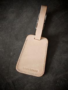 """Amerigo"" Natural Handmade Leather Luggage Tag"